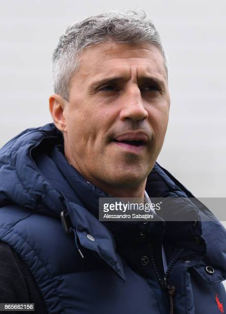 Hernan Crespo Vice President of Parma Calcio looks on before the Serie A match between Parma Calcio and Virtus Entella at Stadio Ennio Tardini on...