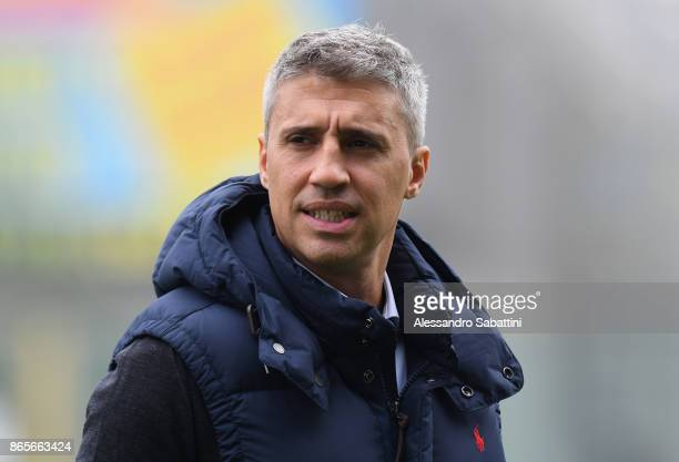 Hernan Crespo Vice President of Parma Calcio looks on before the Serie A match between Parma Calcio and Virtus Entella at Stadio Ennio Tardini on...