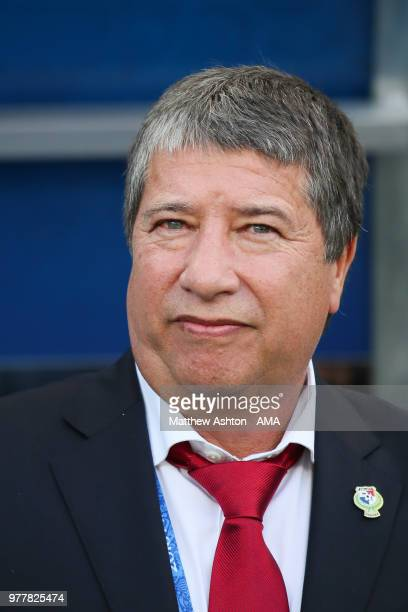 Hernan Dario Gomez head coach / manager of Panama looks on prior to the 2018 FIFA World Cup Russia group G match between Belgium and Panama at Fisht...
