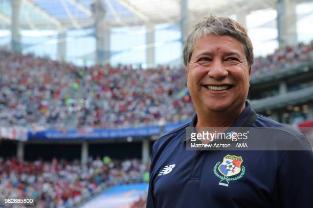 Hernan Dario Gomez head coach / manager of Panama looks on prior to the 2018 FIFA World Cup Russia group G match between England and Panama at Nizhny...