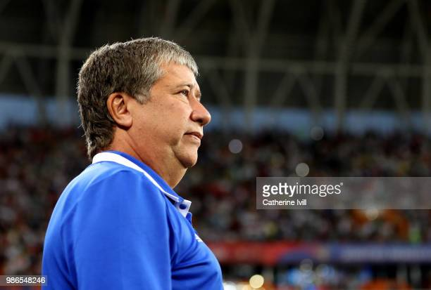 Hernan Dario Gomez manager / head coach of Panama during the 2018 FIFA World Cup Russia group G match between Panama and Tunisia at Mordovia Arena on...