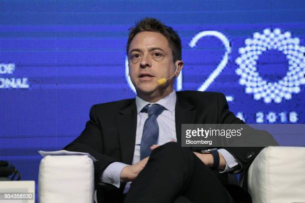 Hernan Garcia chief economist of Grupo Financiero Galicia SA speaks during the Institute of International Finance G20 Conference in Buenos Aires...