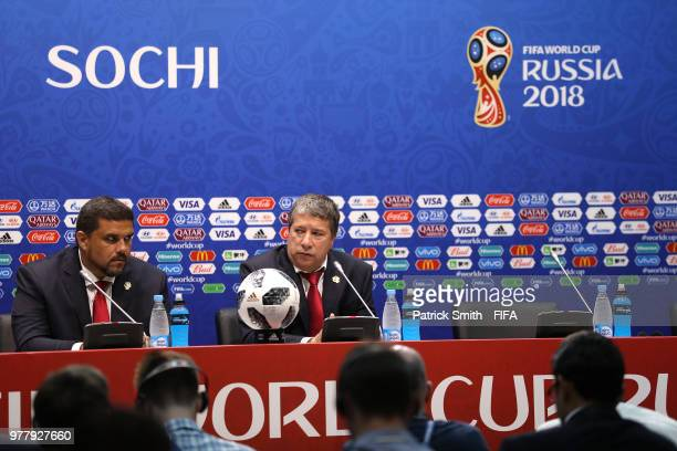 Hernan Gomez Manager of Panama attends the post match press conference following the 2018 FIFA World Cup Russia group G match between Belgium and...