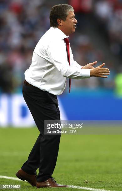 Hernan Gomez Manager of Panama gives his team instructions during the 2018 FIFA World Cup Russia group G match between Belgium and Panama at Fisht...