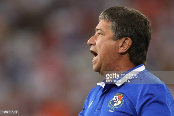 Hernan Gomez Manager of Panama issues instructions during the 2018 FIFA World Cup Russia group G match between Panama and Tunisia at Mordovia Arena...