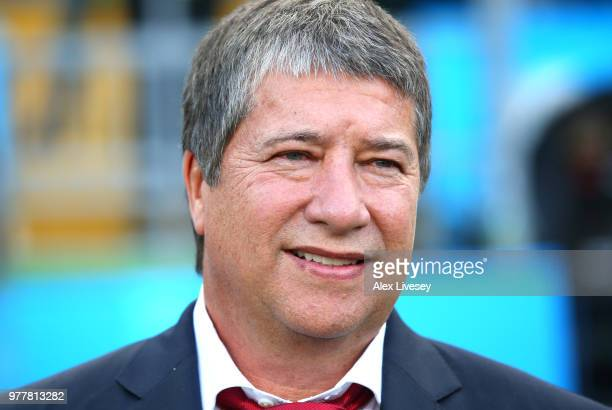 Hernan Gomez Manager of Panama looks on during the 2018 FIFA World Cup Russia group G match between Belgium and Panama at Fisht Stadium on June 18...