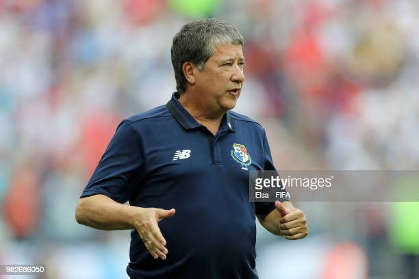 Hernan Gomez Manager of Panama looks on during the 2018 FIFA World Cup Russia group G match between England and Panama at Nizhny Novgorod Stadium on...