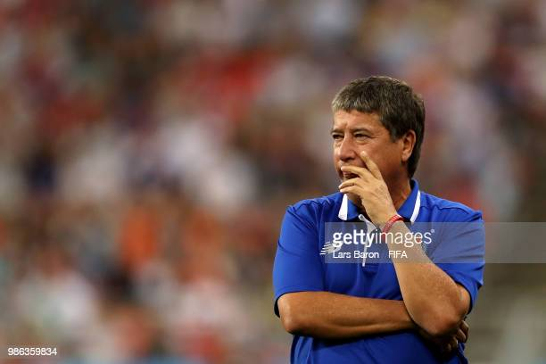 Hernan Gomez Manager of Panama looks on during the 2018 FIFA World Cup Russia group G match between Panama and Tunisia at Mordovia Arena on June 28...