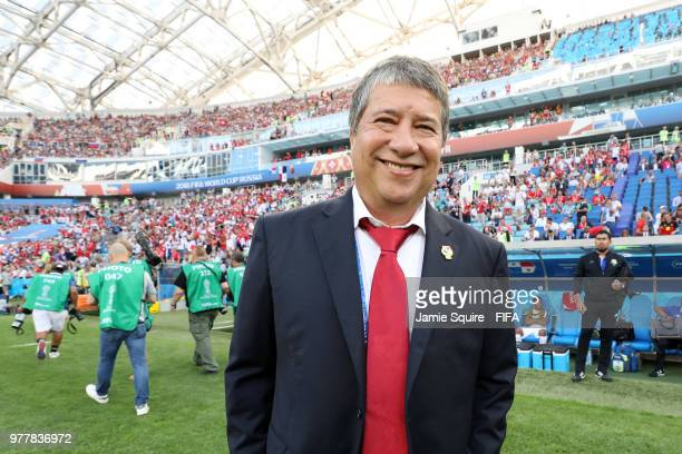 Hernan Gomez Manager of Panama looks on prior to the 2018 FIFA World Cup Russia group G match between Belgium and Panama at Fisht Stadium on June 18...