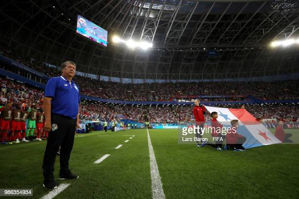 Hernan Gomez Manager of Panama looks on prior to the 2018 FIFA World Cup Russia group G match between Panama and Tunisia at Mordovia Arena on June 28...