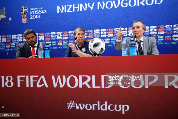 Hernan Gomez Manager of Panama speaks during a press conference after the 2018 FIFA World Cup Russia group G match between England and Panama at...