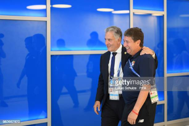 Hernan Gomez Manager of Panama speaks with FEPAFUT President Pedro Chaluja Arauz as they arrive at the stadium prior to the 2018 FIFA World Cup...