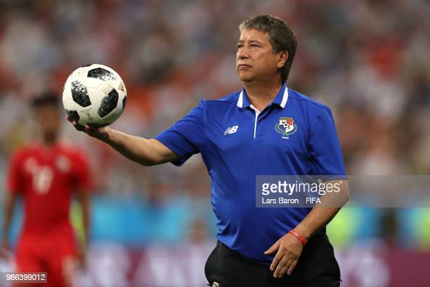 Hernan Gomez Manager of Panama takes the ball during the 2018 FIFA World Cup Russia group G match between Panama and Tunisia at Mordovia Arena on...
