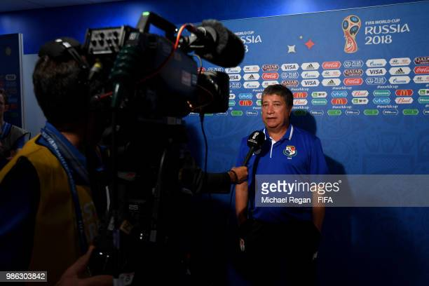 Hernan Gomez Manager of Panama talks to media prior to the 2018 FIFA World Cup Russia group G match between Panama and Tunisia at Mordovia Arena on...