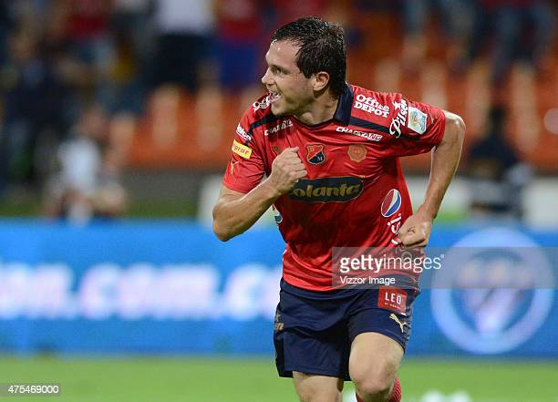 Hernan Hechalar of Independiente Medellin celebrates after scoring the second goal of his team during a semifinal match between Medellin and Deportes...