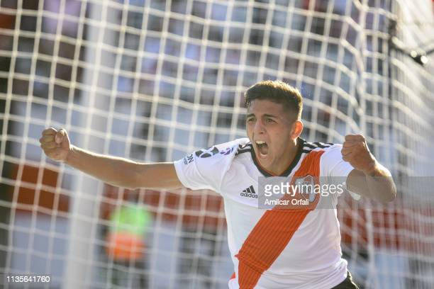 Hernan Lopez of River Plate celebrates after scoring the second goal of his team during a match between River Plate and Tigre as part of Superliga...
