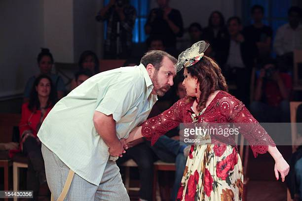 Hernan Mendoza y Dora Cordero perform during the premier of the play Tennessee en Cuerpo y Alma at Casa del Lago on October 18 2012 in Mexico City...