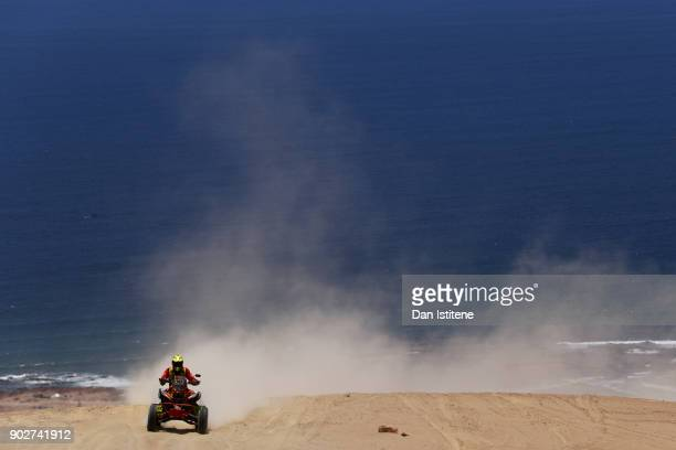 Hernan Paredes of Bolivia and MEC rides a Honda 700 quad bike in the Classe GQ1 2 Roues Motrices 0 during stage three of the 2018 Dakar Rally between...
