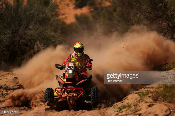 Hernan Paredes of Bolivia and MEC rides a Honda 700 quad bike in the Classe GQ1 2 Roues Motrices 0 during stage thirteen of the 2018 Dakar Rally...