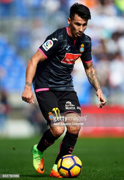Hernan Perez of RCD Espanyol in action during La Liga match between Malaga CF and RCD Espanyol at La Rosaleda Stadium February 04 2017 in Malaga Spain