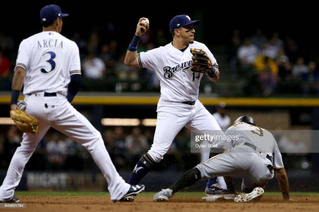 Hernan Perez #14 of the Milwaukee Brewers attempts to turn a double play past Sean Rodriguez #3 of the Pittsburgh Pirates as Orlando Arcia #3 looks on in the sixth inning at Miller Park on September 11, 2017 in Milwaukee, Wisconsin.