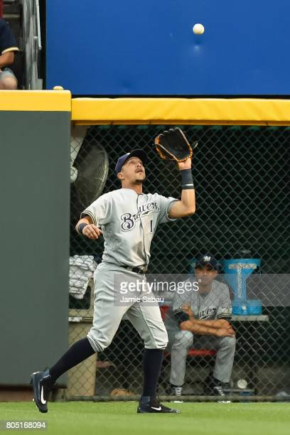 Hernan Perez of the Milwaukee Brewers catches a fly ball against the Cincinnati Reds at Great American Ball Park on June 28 2017 in Cincinnati Ohio