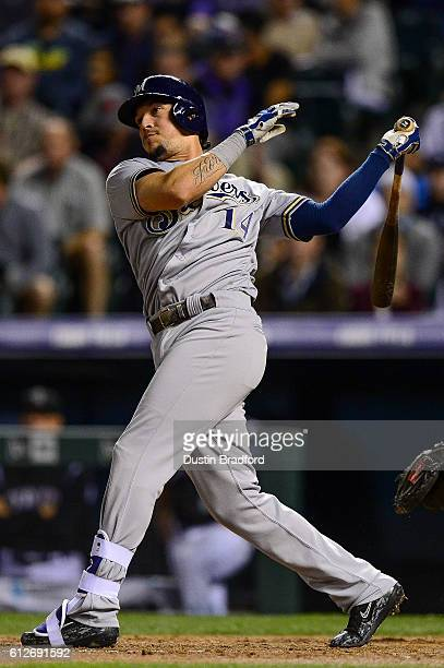 Hernan Perez of the Milwaukee Brewers doubles against the Colorado Rockies at Coors Field on September 30 2016 in Denver Colorado