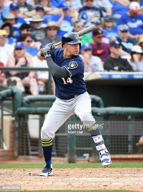 Hernan Perez of the Milwaukee Brewers gets ready in the batters box during a spring training game against the Kansas City Royals at Surprise Stadium...