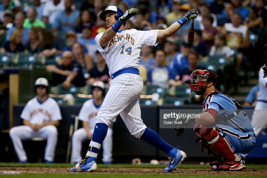 Hernan Perez #14 of the Milwaukee Brewers hits a home run in the sixth inning against the Philadelphia Phillies at Miller Park on July 15, 2017 in Milwaukee, Wisconsin.