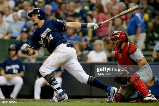Hernan Perez of the Milwaukee Brewers hits a single in the fifth inning against the St Louis Cardinals at Miller Park on August 3 2017 in Milwaukee...