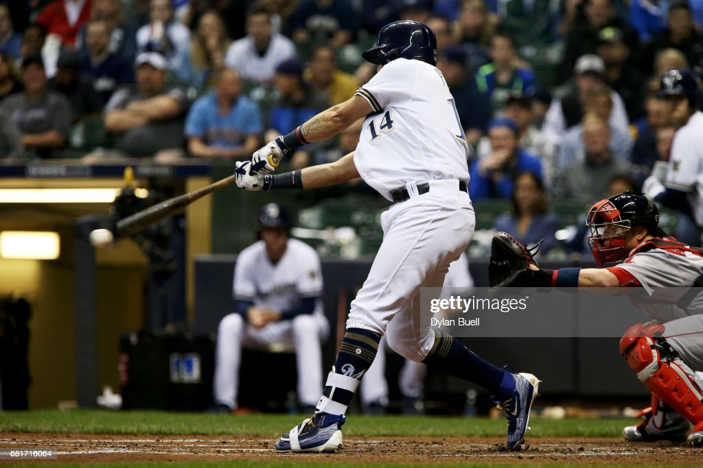 Hernan Perez #14 of the Milwaukee Brewers hits a single in the first inning against the Boston Red Sox at Miller Park on May 10, 2017 in Milwaukee, Wisconsin.