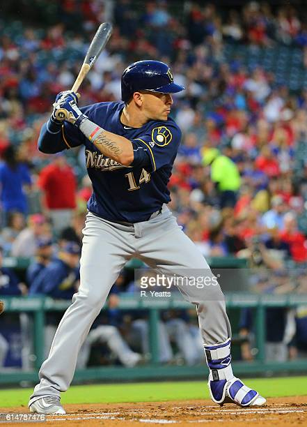 Hernan Perez of the Milwaukee Brewers hits in the first inning against the Texas Rangers at Globe Life Park in Arlington on September 27 2016 in...
