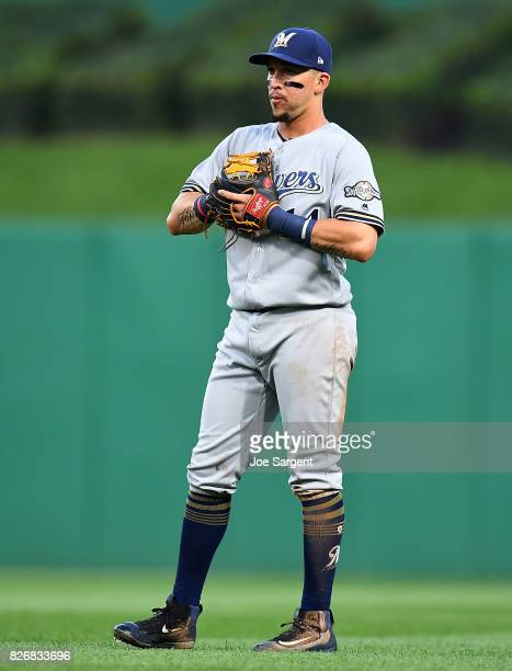 Hernan Perez of the Milwaukee Brewers in action during the game against the Pittsburgh Pirates at PNC Park on July 18 2017 in Pittsburgh Pennsylvania
