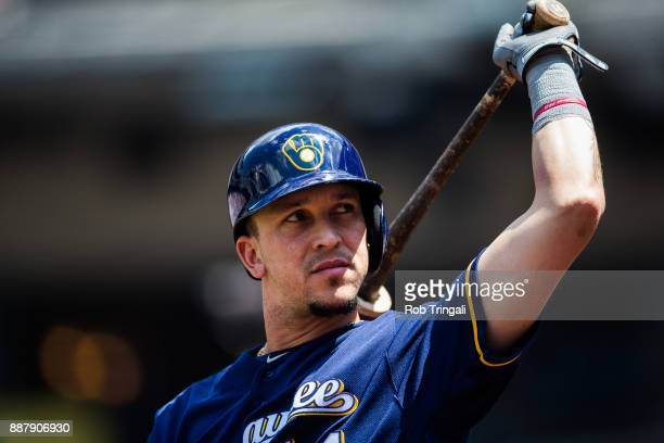 Hernan Perez of the Milwaukee Brewers looks on during the game against the New York Mets at Citi Field on Thursday June 1 2017 in the Queens borough...