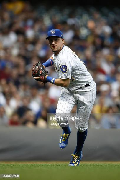 Hernan Perez of the Milwaukee Brewers makes a throw to first base during a game against the Los Angeles Dodgers at Miller Park on June 2 2017 in...