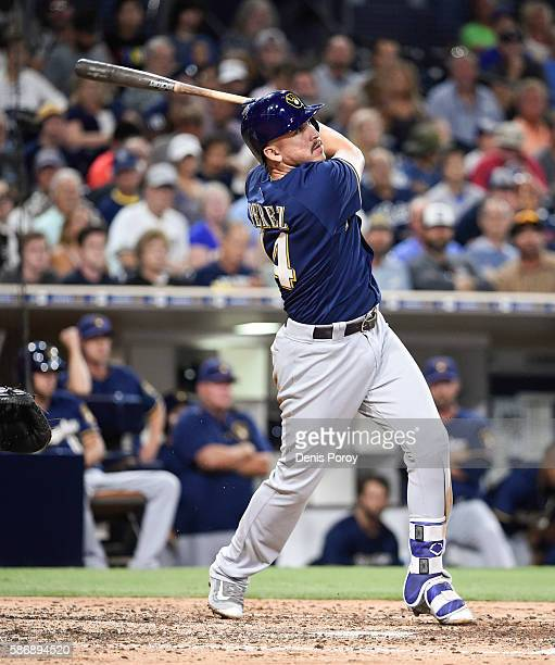 Hernan Perez of the Milwaukee Brewers plays during a baseball game against the San Diego Padres at PETCO Park on August 31 2016 in San Diego...