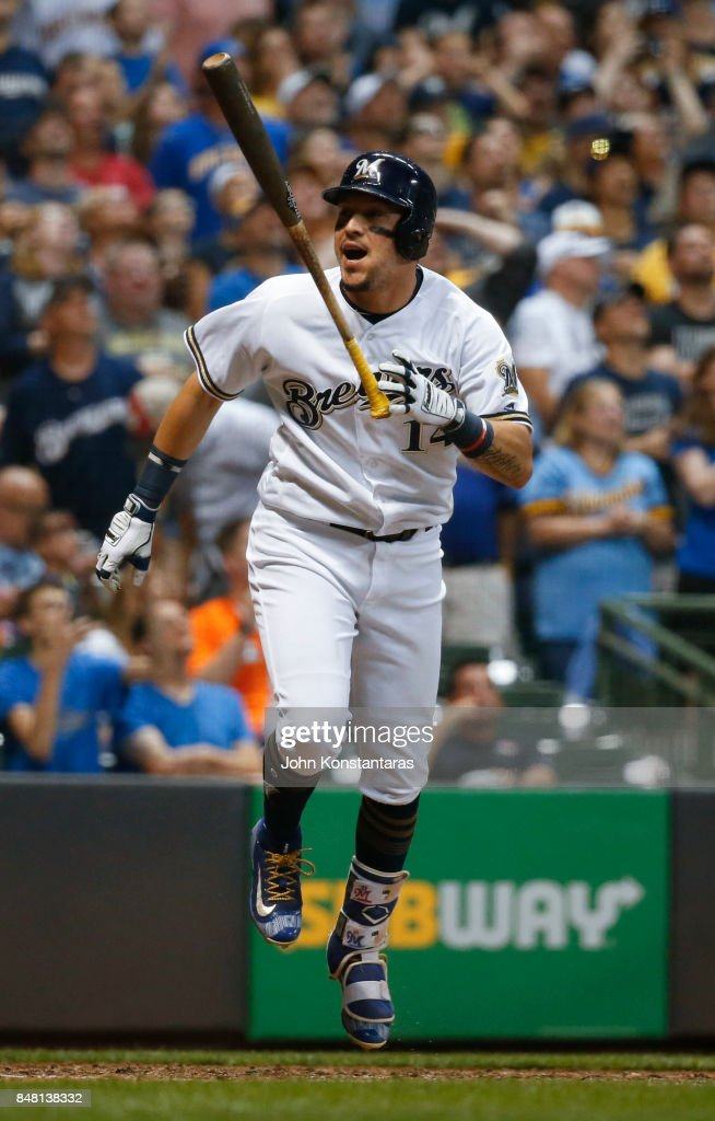 Hernan Perez #14 of the Milwaukee Brewers reacts after flying out to end the sixth inning against the Miami Marlins at Miller Park on September 16, 2017 in Milwaukee, Wisconsin. The Marlins defeated the Brewers 7-4.