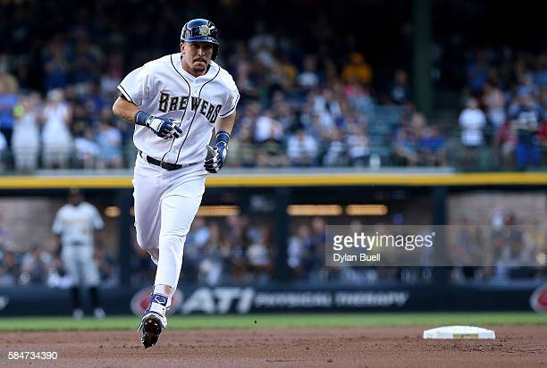Hernan Perez of the Milwaukee Brewers rounds the bases after hitting a home run in the first inning against the Pittsburgh Pirates at Miller Park on...