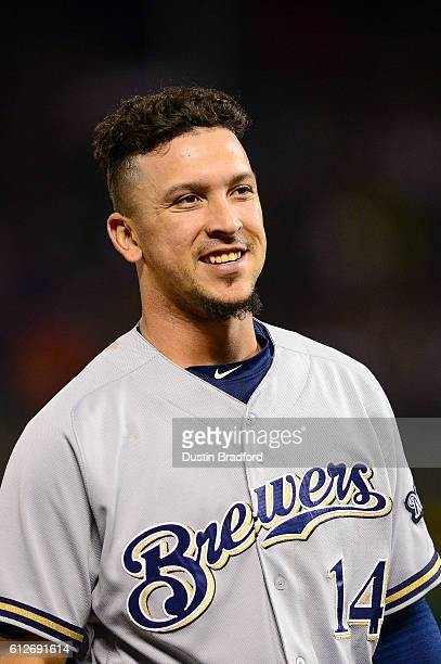 Hernan Perez of the Milwaukee Brewers smiles during a game against the Colorado Rockies at Coors Field on September 30 2016 in Denver Colorado