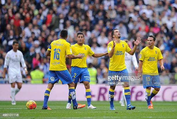 Hernan Santana of UD Las Palmas celebrates after scoring his team's opening goal during the La Liga match between Real Madrid CF and UD Las Palmas at...