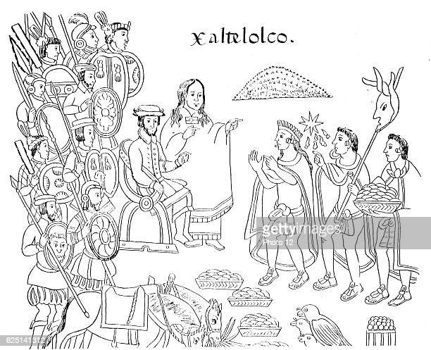 Hernandez Cortes or Cortez Spanish conquistador who conquered Xaltelolco in Mexico Beside him is La Malinche his native mistress who acted as...