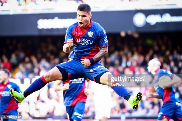 Hernandez of SD Huescacelebrate after scoring the 11 goal during spanish La Liga match between Valencia CF vs SD Hueca at Mestalla Stadium on...