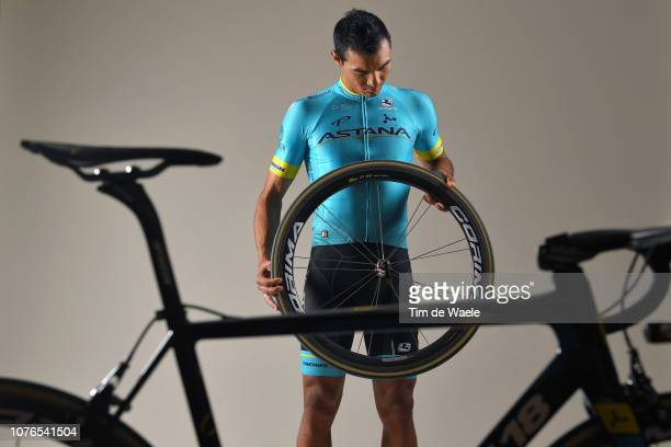 Hernando Bohorquez of Colombia and Astana Pro Team / Corima Wheel / Argon 18 Bike / Silhouette / Detail view / on December 17 2018 in Altea Spain