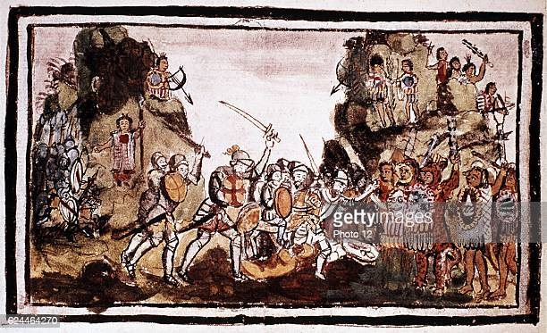Hernando Cortes Spanish conquistador attacking natives in Mexico