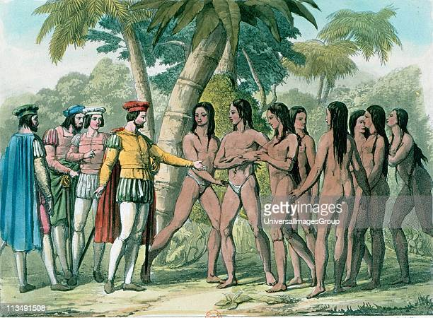 Hernando Cortez Spanish conquistador who conquered Mexico making contact with native Mexicans Handcoloured lithograph 1827
