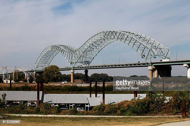 Hernando De Soto bridge as photographed from Tom Lee Park in Memphis Tennessee on October 4 2016