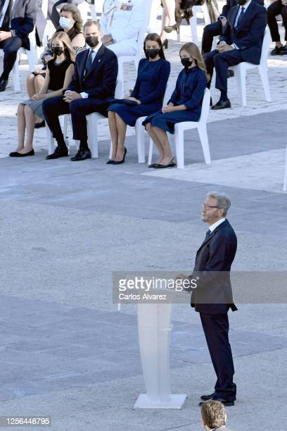 Hernando Fernández Calleja speaks in front of Crown Princess Leonor King Felipe of Spain Queen Letizia of Spain and Princess Sofia attend the State...