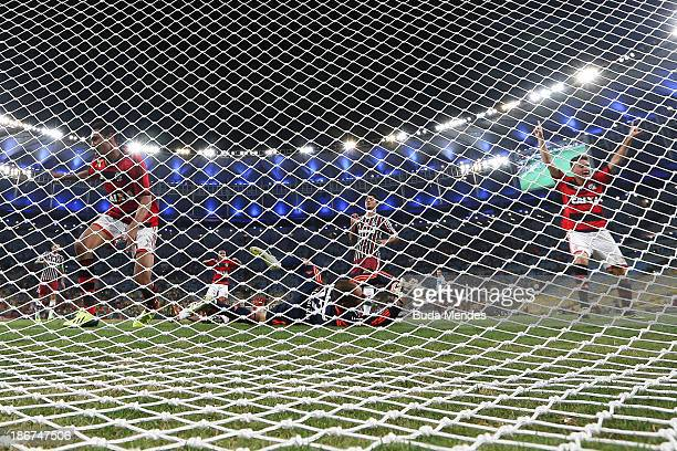 Hernane of Flamengo kicks to the goal with a goalkeeper Diego Cavalieri of Fluminense during a match between Flamengo and Fluminense as part of...
