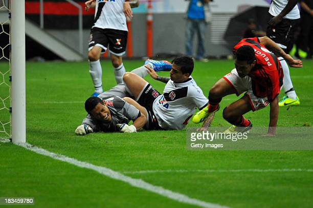Hernanes and others players of Flamengo celebrates a scored goal during the match between Flamengo and Vasco for the Brazilian Series A 2013 on...