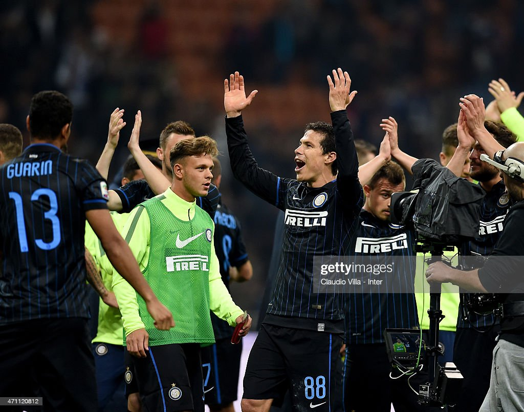 Hernanes of FC Internazionale #88 celebrates at the end of the Serie A match between FC Internazionale Milano and AS Roma at Stadio Giuseppe Meazza on April 25, 2015 in Milan, Italy.